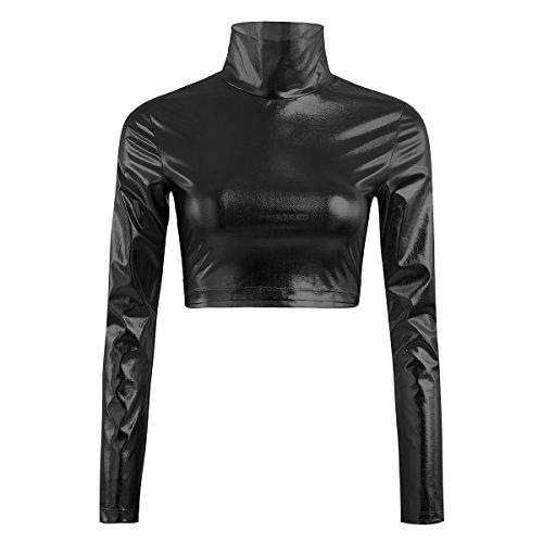YiZYiF Metallic Flüssigkeit Mock Neck Pullover mit Stehkragen Langarm Crop Top Damen T-Shirt Clubwear Sexy Gr. S-XL A - Schwarz Small