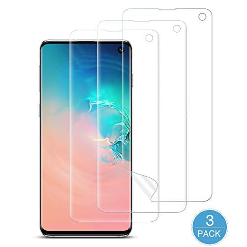 [3 Pack] Screen Protector for Samsung Galaxy S10, KKTICK [Ultrasonic Fingerprint Compatible][Self Healing] Anti-Scratch HD Clear Flexible Film for S10 (6.1 inch), Lifetime Replacement Warranty