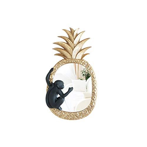 Qiaoxianpo01 Wanddekorationen, Schlafzimmer, Flur, Wohnzimmerdekorationen, Kreative Geschenke, Spiegelanhänger für Affen und Ananas, Gold (Color : Gold)
