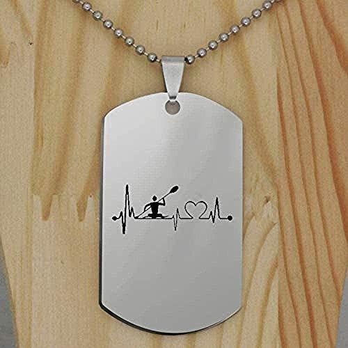 ZJJLWL Co.,ltd Collar Kayak Heartbeat Colgante Collar Grabado de Acero Inoxidable para Mujeres Hombres Colgante Hecho a Mano Collar Regalo para Mujeres Hombres niñas niños