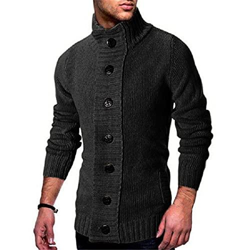 Turtuelas de Punto para Hombre suéteres de Punto Slim Solid Cardigan Single-Breasted Oversized...