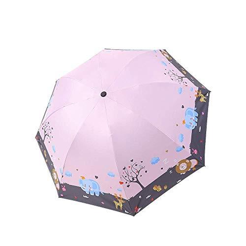 DZNOY Paraguas Plegable Paraguas Sol Sol Protector Solar Lluvia y Sol impresión Sol Paraguas Anti-Ultravioleta sombrilla (Color : Peach)