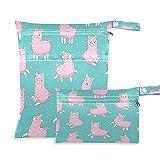 QMIN - Bolsa de secado húmedo para bebé, diseño de alpaca, impermeable, con dos...