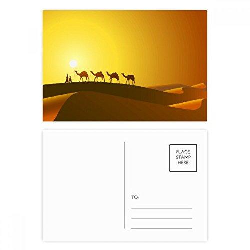 DIYthinker Sonneset All the Way auf die Seidenstraße Kamel Wüsten-Postkarten-Set Geburtstag dankt Karte Mailing Side 20pcs 5.7 Zoll x 3.8 Zoll Mehrfarbig