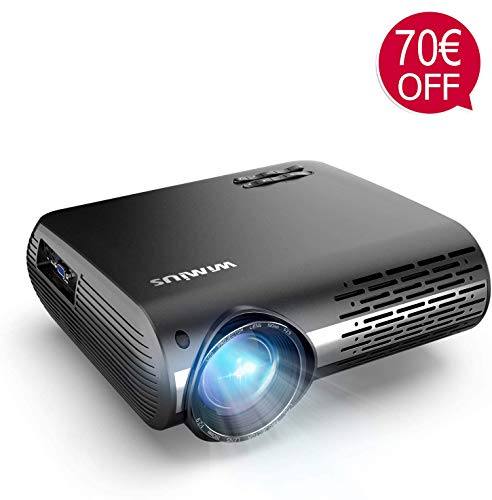 Beamer, WiMiUS 7000 Lumen Video Beamer Full HD 1920x1080P Unterstützung 4K Video 4D ± 50 ° Elektronische Korrektur LED Projektor Für Heimkino kompatibles Smartphone, Fire Stick, Xbox