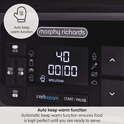 Morphy Richards 470006 Intellisteam, Kitchen Food Steamer, Perfectly Synchronised Meal Solution, Intelligent Cooking, BPA Free, 1600 W, 6.8 liters, Stainless Steel