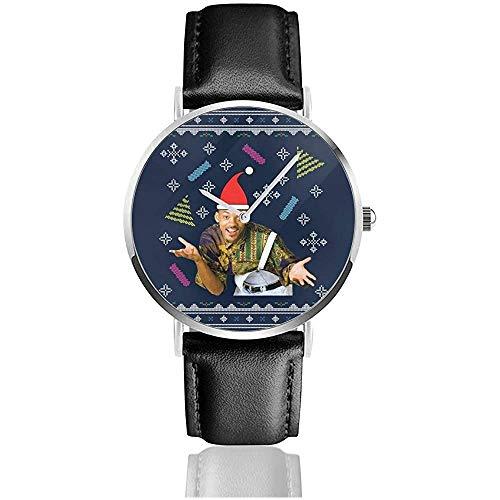 Unisex Frischer Prinz von Bel Air Will Smith Weihnachtsstrickmuster Uhren Quarzlederuhr mit schwarzem Lederband