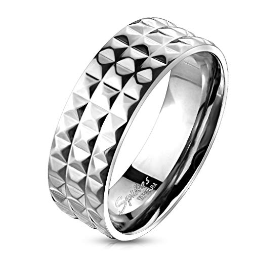 Tapsi´s Coolbodyart®  Band Ring Titan Silber Spike Pyramide 63(20)