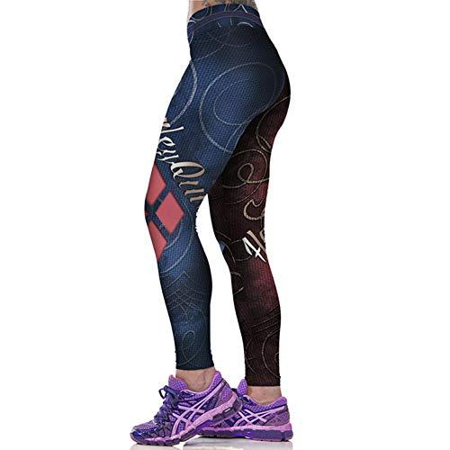 GAOqi ART Mode Harley Quinn Bedruckte Gym Leggings Sport Yoga Strumpfhose Hohe Taille Hüften Enhancer Strümpfe Yoga Hose, W009 Blau, M.