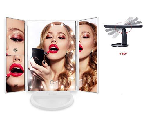 Espejo de Maquillaje con 22 Luz Led y Aumentos x1 x2 x3...