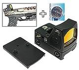 [AERITH BLACK] 改良レンズ Tr RMR タイプ レプリカ オープン ドットサイト ダットサイト 刻印入り 20mmレイル対応マウント 電池付 グロック マウント付属 RMR (BK B)