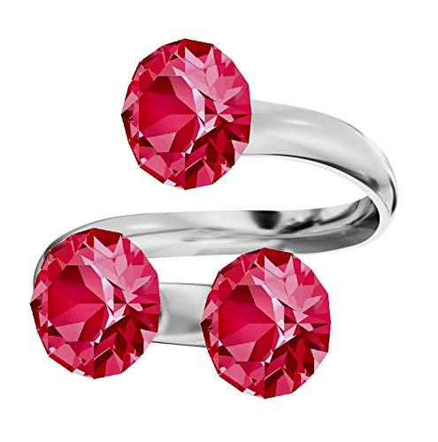 Beforya Paris, anello da donna, argento sterling 925 con elementi Swarovski, misura regolabile Anello semplice ed elegante. PIN / 75. e Argento, colore: Rosa indiano., cod. 7