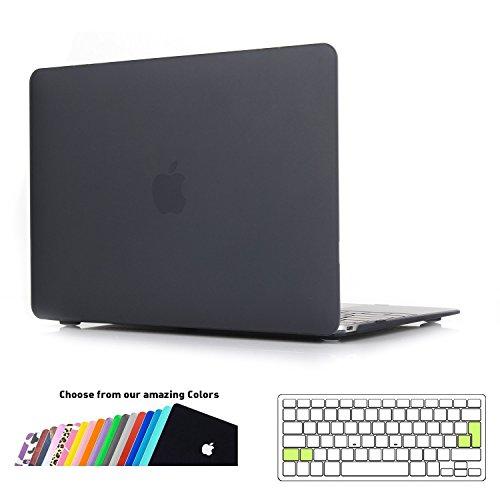 iNeseon 2015-2017 MacBook 12 Zoll Hülle Case, Ultradünne Hartschale Cover Schutzhülle mit Tastaturschutz für MacBook 12 Retina Modell A1534, Schwarz