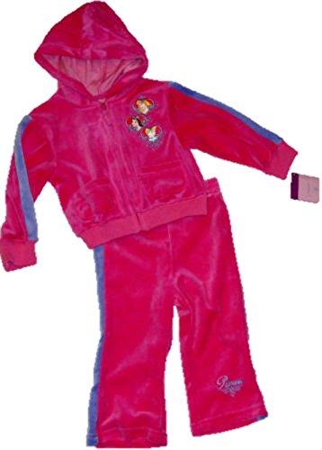 Officiel Disney 2PC Taille 24 Mois Disney Princess Rose Vif Velour Filles Survêtement Sweat à Capuche