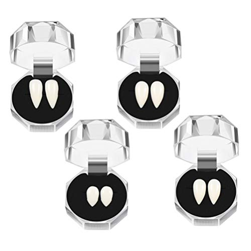KESYOO 4PCS Vampire Teeth Fangs Fake Denture Horrific Zombie Teeth with Storage Box Funny Cosplay Party Props for Halloween Party Trick Toys