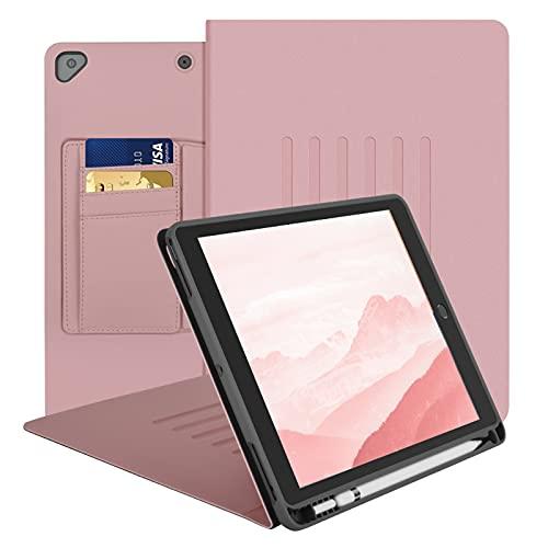 Funda Para iPad de 8ª/7ª Generación, 10,2 Cover iPad de 6 ángulos de Soporte Magnéticos, Funda Protectora de Cuerpo Completo Función de Despertador/Sueño para iPad 10,2 2019 & 2020, Rosa
