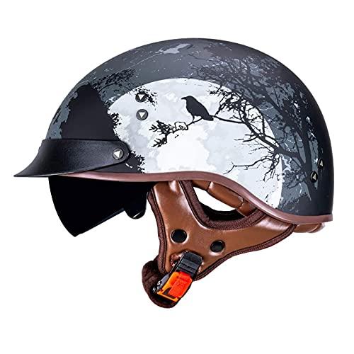 SPOTOR Con Visera Retro Motocicleta Half-Helmet Cruiser Chopper Casco de Moto Abierto Media Cara Casco Negro Mate Casco de Protección Scooter Casco Half-Helmet 57~63cm