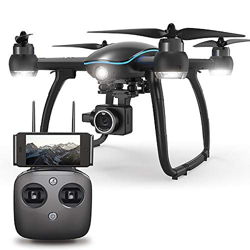 ElevenY New W GPS RC Drone with Camera 1080P 2.4G WiFi FPV Follow Me Surround Mode Auto Return Altitude Hold Quadcopter - Rechargeable Drone for Kids Adults Best