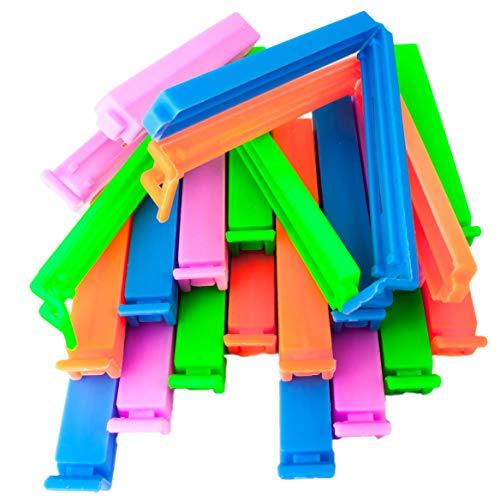 54 St/ück - bunt com-four/® 54 Verschlussclips aus Kunststoff Verschlussklammern in verschiedenen Gr/ö/ßen und Farben