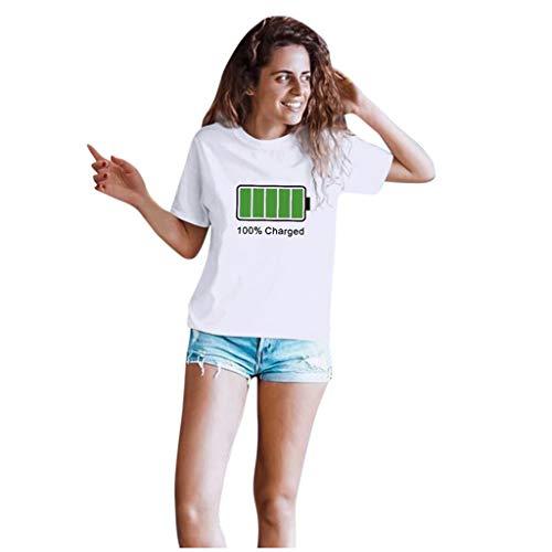 Xmiral T-Shirt da Uomo Innamorati per Coppie San Valentino Manica Corta con Stampa Lettere d'Amore (3XL,2Donna-Bianca)