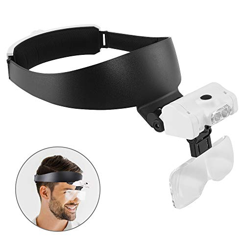 Kaciopoo Headband Magnifier with 2 LED Lights and 5 Detachable Lenses 1X, 1.5X, 2X, 2.5X, 3.5X - Hands Free Magnifying Glasses for Close Work, Repair, Crafts, Jewelry Work