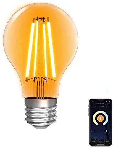 WLAN Glühbirne Alexa,Lumary Smart Edison Vintage Glühbirnen E27, 7W ersetzt 70W LED Birne Lampe, Dimmbar Warmweiß Kaltweiß 2200K-6500K Retro Glühlampe kompatibel mit Echo, Google Home
