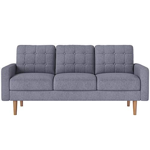 VASAGLE Sofa, Couch fürs Wohnzimmer, Bezug aus Polyester, Polstermöbel für kleine Wohnungen, Gestell und Beine aus Massivholz, modernes Design, 182 x 80,5 x 84 cm, grau LCS101G01