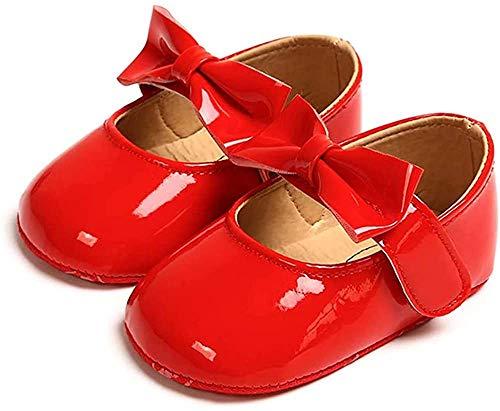 Zapatos Recien Nacido Antideslizante Bailarinas Princesa Bowknot Bebé Niñas Rojo 12-18 Meses