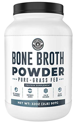 Bone Broth Powder, 2lb Pure Grass Fed Beef Bone Broth Protein Powder - Unflavored. Rich in Collagen,...