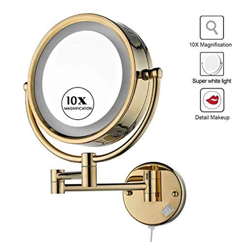 NMRCP Espejos de Aumento de Pared 10x, 8,6 Pulgadas Espejo Maquillaje con luz LED, Extensible Doble Cara Ideal para Aplicar Maquillaje, Ponerse Las Lentillas, Afeitar, Dorado