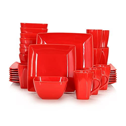 Vajillas combinadas Juego de vajillas cuadrado de porcelana de cerámica roja de 16/32 piezas con placa de cena, placa de postre, tazón, conjunto de taza de 240 ml Juego de cuenco y plato