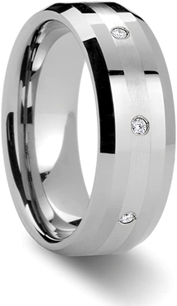 Mens Comfort Fit -Beveled Tungsten Carbide Diamond Wedding Ring - Platinum Inlay - 8mm Wide - Style Name: Newport