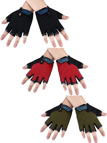 3 Pairs Kids Half Finger Gloves Sport Gloves Non-Slip Gel Gloves for Children Cycling Biking (Black, Army Green, Red, 6-10 Years)