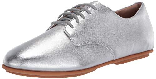 Fitflop Damen Adeola Leather Lace-Up Derbys Sneaker, Silber, 36 EU