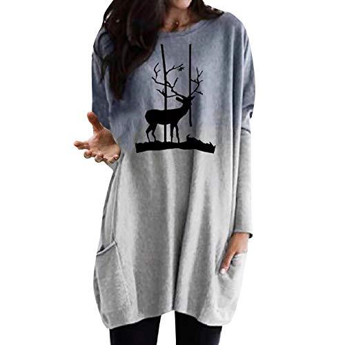 Camiseta de manga larga con cuello redondo para mujer con estampado Gris-b M
