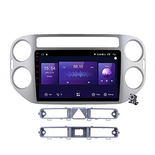 Gokiu Android 10 Autoradio 2 DIN Car Stereo Coche GPS Navegacion para VW Tiguan 1 NF 2007-2016 Soporte Carplay Android Auto/Multimedia FM RDS DSP/Control Volante/Hands-Free Calls,7862: 4+64