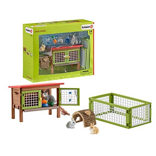 Schleich Farm World Rabbit Hutch 8-piece Educational Playset for Kids Ages 3-8