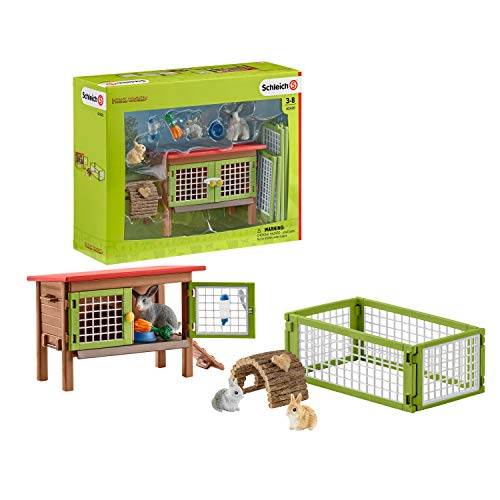 Schleich- Rabbit Hutch Jaula para Conejos, Multicolor (42420