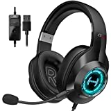 Edifier G2II Gaming Headset for PC PS4 USB Wired Gaming Headphones with 7.1 Surround Sound with Noise Canceling Microphone and RGB Light 50mm Driver Compatible with Mac Desktop PC Black