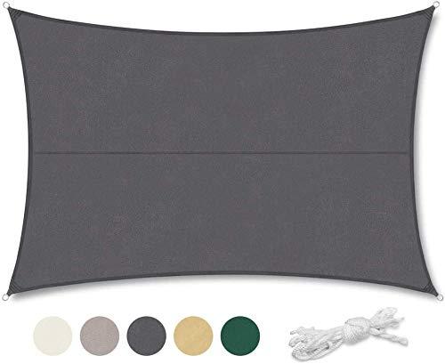 Shade Geling Velo de sombra Velo de sombra rectangular Protección contra rayos UV y tela impermeable Velo de sombra para exterior / terraza / jardín de color caqui 6 × 8m-3.6 × 3.6m_Antracita_ 0729