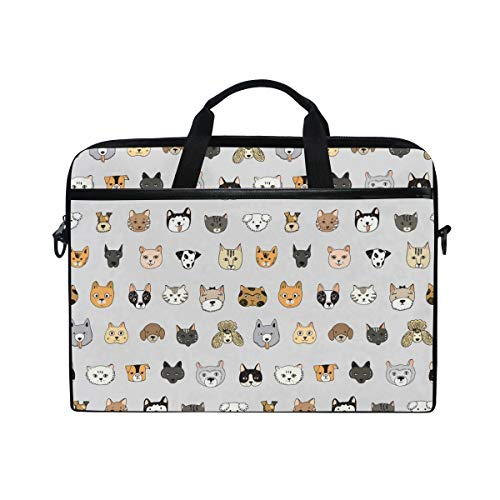 AGONA Cute Cats Dogs Animal Laptop Shoulder Messenger Bag 15 inch Case Sleeve for 14 Inch Laptop Case Laptop Briefcase Compatible Notebook MacBook Ultrabook Chromebook for Men Women