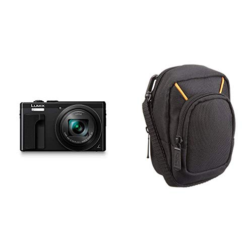 Panasonic Lumix DMC-TZ80EG-K Fotocamera, 18,1MP, Zoom Ottico 30x Post Focus, 4K Photo & 4K Video, Nero & Amazon Basics - Custodia per fotocamera compatta, misura grande