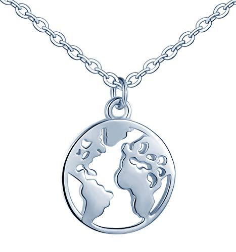 Infinito U- Moda Collares Mujer de Plata de Ley 925 Colgante de la Mapa del Mundo,Color de Plateado, Idea Regalo Navidad para Mujeres Chicas Hombre