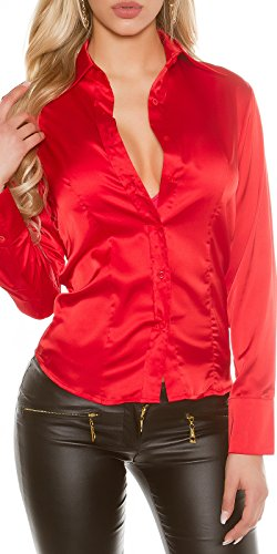 Fashion Damen Satin Bluse Satinbluse elegant Langarm Business Look Abendbluse rot S