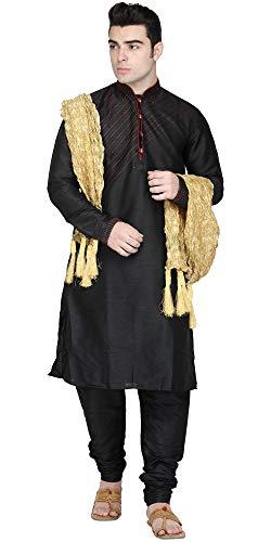 インドのクルタパジャマは、3-ピースは長袖フック&アイシャツパジャマは民族摩耗の結婚式の衣装を設定し、男性を設定盗んだ-m