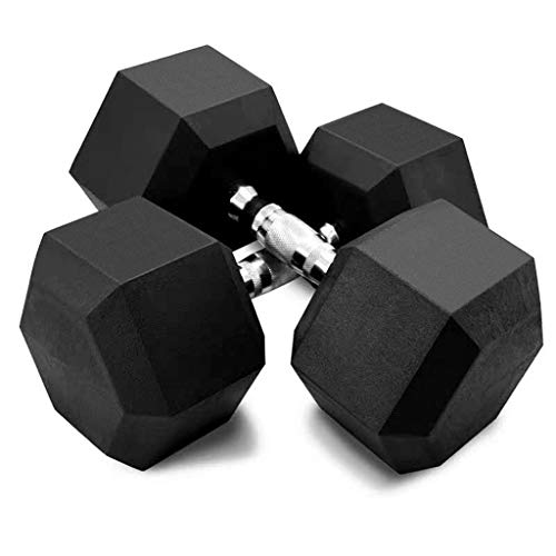 Cool1980s Rubber Dumbbell in Pair - with Metal Handles Pair of 1 Heavy Dumbbell,5lbs, 10lbs, 20lbs, 30lbs, 50lbs - Dumbbell Barbell Weights Set (50lbs)
