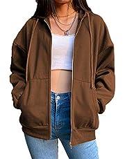 Dames Y2K E-Girl Oversized Sweatshirt, Zip Up Hoodies Jas Lange Mouw Streetwear Jas
