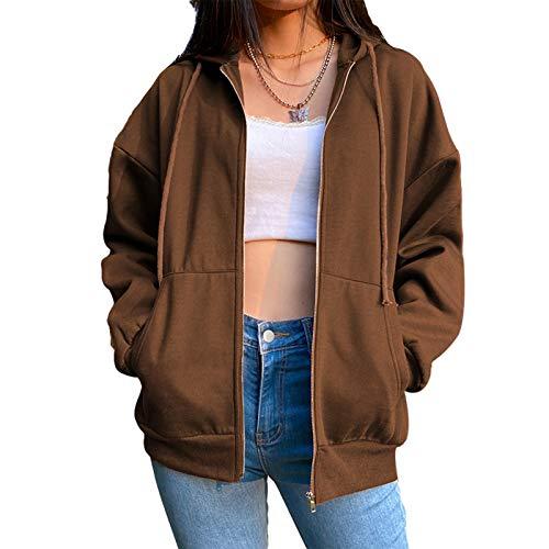 Geagodelia Sudadera con capucha y cremallera de color liso para mujer, abrigo de manga larga con bolsillos, sudadera deportiva para otoño e invierno marrón L