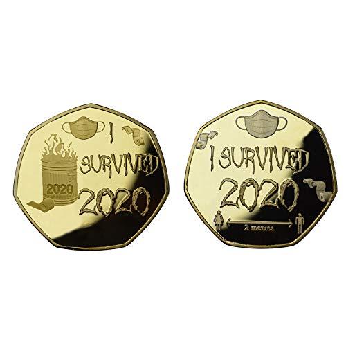 SmallYin 2 Monedas Conmemorativas de Sobreviviente 2020 Monedas Conmemorativas de Doble Cara, Regalos Conmemorativos para Familiares y Amigos, Regalos de ColeccióN (Oro)