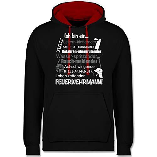 Shirtracer Feuerwehr - Ich Bin EIN Feuerwehrmann! - XL - Schwarz/Rot - Feuerwehr Hoody - JH003 - Hoodie zweifarbig und Kapuzenpullover für Herren und Damen